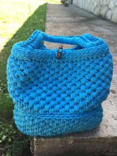 """Bag Turquoise crochet in cotton- lined """"DeLICIOUS"""" made in Italy"""
