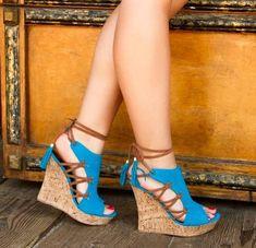 Fashion women newest designer platform sandals lace-up heels wedge shoes blue orange sandals peep toe novelty design party shoes Lace Up Wedges, Peep Toe Wedges, Wedge Heels, High Wedges, Wedge Sandals Outfit, Wedge Loafers, Shoes Heels Wedges, Espadrille Sandals, Womens Shoes Wedges