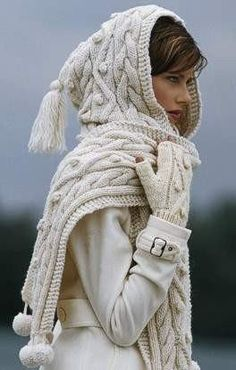 I have a similar chunky knit hooded scarf but without the ugly pom-poms and fringe (thank goodness).
