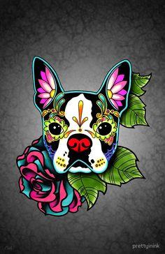 Boston Terrier in Black - Day of the Dead Sugar Skull Dog by prettyinink