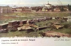 Old postcard showing the Jewish Cemetery of Thessaloniki.