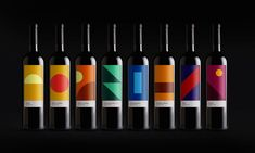 Pretty Wines - Graphic Design - Packaging, Labels, Wine Bottles, Geometric Shapes, Colorful, Clean, Modern