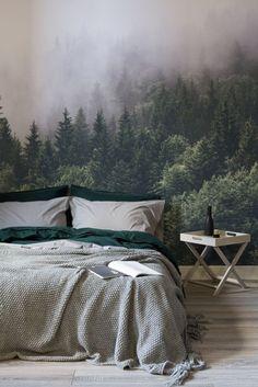Slaapkamer fotobehang bos met mist