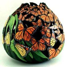 Decorative Gourds, Hand Painted Gourds, Gourds Birdhouse, Butterfly Art, Butterflies, Monarch Butterfly, Gourd Art, Polymer Clay Art, Clay Projects