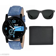 Watches (Black) Wallet,Sunglass & Watch Combo Strap Material: Leather Display Type: Analogue Size: Free Size Multipack: 2 Country of Origin: India Sizes Available: Free Size   Catalog Rating: ★4 (511)  Catalog Name: Classic Men Watches CatalogID_1680122 C65-SC1232 Code: 762-9532269-765