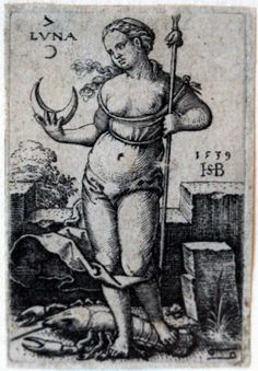 Beham, (Hans) Sebald (1500-1550): Luna, from The seven Planets with the Signs of the Zodiac, 1539 US public domain via wikimedia