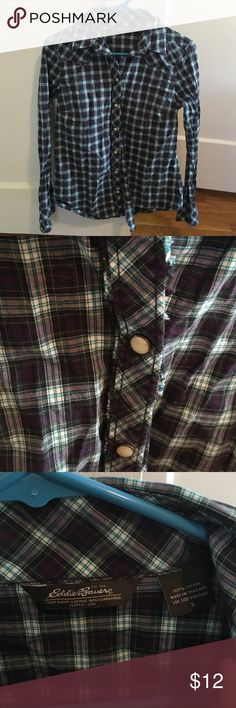Eddie Bauer Plaid Top Adorable Eddie Bauer purple and turquoise plaid top with pearl snap buttons. In great condition! Eddie Bauer Tops Button Down Shirts
