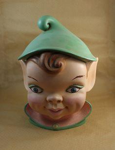 Vintage Christmas Elf/Pixie Cookie Jar  Holland Mold by GarnetRow, $35.00