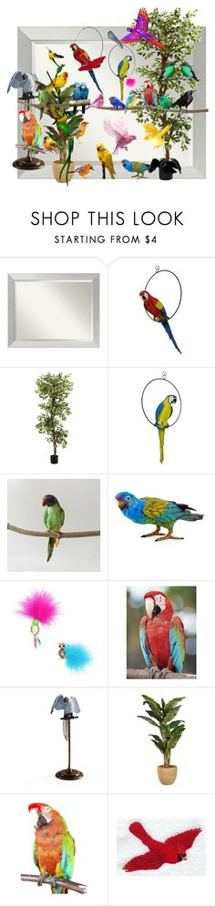 """PARROT DAY"" by superpop ❤ liked on Polyvore featuring Amanti Art, Nearly Natural, Puebco, Betsey Johnson, Frontgate, love, colors, birds and frame"