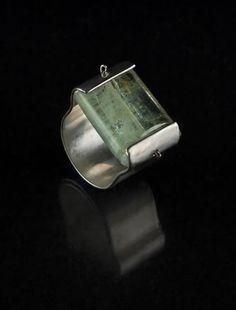 green aquamarine set in sterling silver