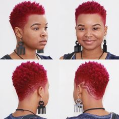 ~ A bold, but gorgeous new look will require an amazing color while balancing the volume of hair up top by keeping the sides tapered… Short Natural Curly Hair, Short Natural Haircuts, Tapered Natural Hair, Short Sassy Hair, Short Hair Cuts, Black Hair Cuts, Curly Hair Styles, Natural Hair Styles, Shaved Hair Designs