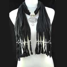 Hot Popular Black Jewellery Beads Heart Pendant Necklace Scarf, NL-1495E