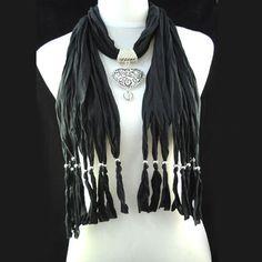 Hot Popular Black Jewellery Beads Heart Pendant Necklace Scarf, NL-1495E
