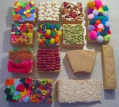 great idea for children to get more sensory experiences with block play This idea had never crossed my mind, to incorporate more sensory options into the block area. This looks inviting and fun. Sensory Wall, Sensory Boards, Baby Sensory, Sensory Bins, Sensory Blocks, Sensory Bottles, Multi Sensory, Infant Activities, Preschool Activities