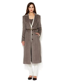 Long Belted Wool Overcoat by Escada