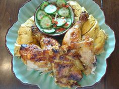 Thai Roti Chicken with yellow curry: http://bullbbq.files.wordpress.com/2013/01/thai-chicken-with-pickled-c.jpg