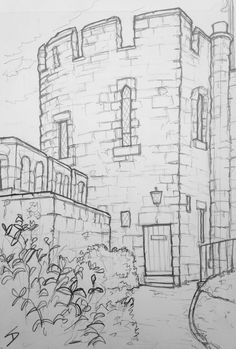 Landscape Pencil Drawings, Pencil Art Drawings, Art Drawings Sketches, Castle Sketch, Castle Drawing, Black And White Art Drawing, Architecture Concept Drawings, Pinturas Disney, Fantasy Drawings