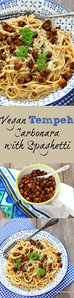 Vegan Tempeh Carbonara with Spaghetti. Super creamy and crispy! Check out the recipe at veganheaven.org! #vegan #healthy #tempeh