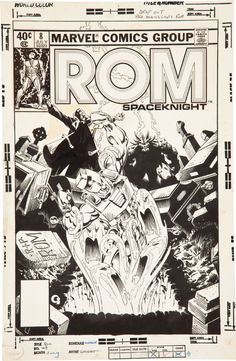 ROM Spaceknight #8 Cover by Michael Golden (Marvel, 1980) Comic Art