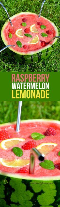 Raspberry Watermelon Lemonade Recipe - Quick, Healthy and no added sugar via @nestandglow