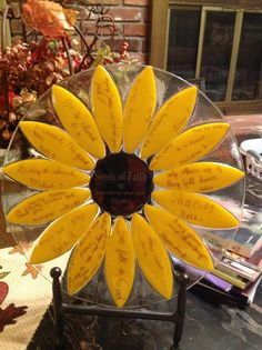 """4th Grade """"Seeds of Faith"""" Sunflower Platter.  Kids Handwriting is on each petal and then fused into the glass for a lifetime!"""