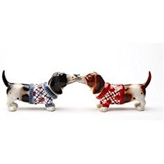 "Kissing Basset Hounds in Sweater ""Nothing but a Hound Dog"" Magnetic Salt and Pepper Shaker Set"