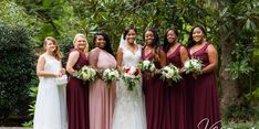 Beautiful blush and burgundy bridesmaids gowns!