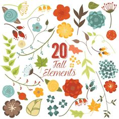 80% OFF SALE Fall Flowers and Leaves Clip Art, Autumn, Clipart, Vector by HuckleberryHearts on Etsy https://www.etsy.com/uk/listing/203221384/80-off-sale-fall-flowers-and-leaves-clip