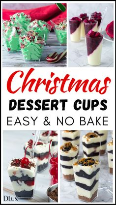Looking for easy no bake Christmas party desserts? Check out these mini dessert cups Christmas desserts that are simple and quick to make! They are a perfect Christmas party dessert! Impress your guests with these easy holiday dessert recipes! Christmas Desserts Easy, Christmas Party Food, Christmas Sweets, Christmas Baking, Christmas Holiday, Xmas Party, Christmas Recipes, Holiday Parties, Dessert Party