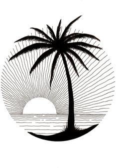Doodle Art Drawing, Mandala Drawing, Pencil Art Drawings, Cool Art Drawings, Art Drawings Sketches, Easy Drawings, Palm Tree Drawing, Circle Drawing, Palm Tree Sketch
