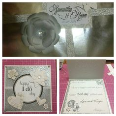 Wedding card  Cuttlebug, embellishments, embossing, gems, pearls, rhinestones, punches, stamping, Washi tape, scrapbooking paper, paper trimmer, adhesive runner, scissors.