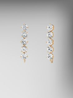 Diamond Cut White Sapphire Top Earrings in 18kt Yellow Gold