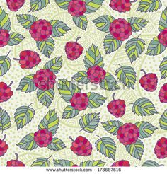 Seamless pattern of delicious raspberries - stock vector