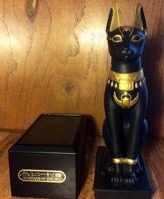 Guardian of The Nile Cat Statue Franklin Mint Black Porcelain 24K Gold w Base | eBay