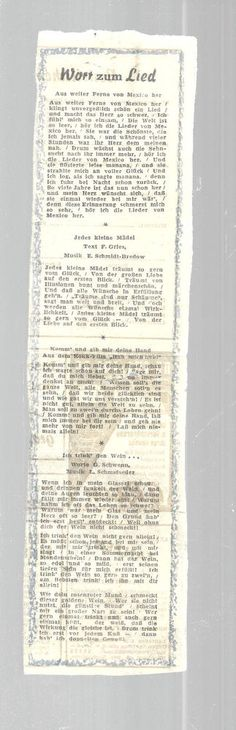 German Newspaper Clipping Four Songs Plus Translations Vintage