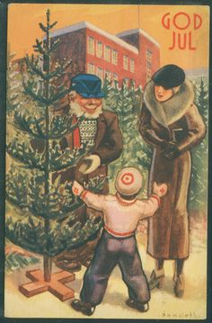 DAMSLETH. Juletradisjoner. Mor og barn kjøper juletre. Lillestrøm 1935
