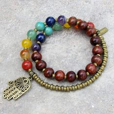 Chakra Bracelet, Genuine Gemstones and Wood 27 Bead Mala Wrap Chakra B Chakra Jewelry, Chakra Bracelet, Yoga Jewelry, Beaded Wrap Bracelets, Beaded Jewelry, Handmade Jewelry, Silver Jewelry, Gold Jewellery, Diamond Jewelry