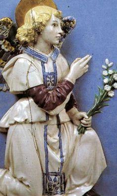 Italian Ceramics - Annunciation (detail) by Andrea della Robbia (ca. 1490), Staatliche Museum, Berlin