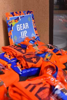 Gear up at a Nerf birthday party! See more party ideas at CatchMyParty.com!
