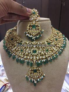 Kundan Jadau Necklace with Green Drops - Jewellery Designs