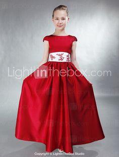 A-line Bateau Floor-length Satin Junior Bridesmaid Dress - AUD $ 101.10