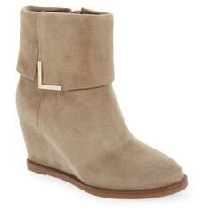 """Johnston & Murphy 'BrynnCuff'Wedge Bootie, 3"""" heel ($278) ❤ liked on Polyvore featuring shoes, boots, ankle booties, ankle boots, taupe oiled suede, fold over ankle boots, taupe ankle boots, high heel ankle boots and wedge bootie"""