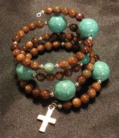 Brown and Turquoise Bead Bracelet with Silver by ThreePinkPumpkins, $20.00