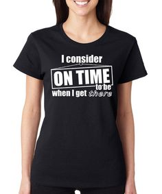Look what I found on #zulily! Black 'On Time' Crewneck Tee #zulilyfinds