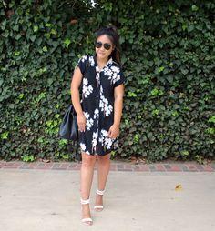 Black V Neck Floral Print Dress! This adorable Summer dress is under $25!
