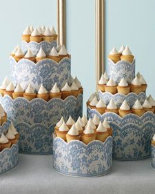 Printed lace trim adds romance to delicious cupcake towers