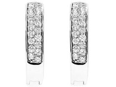 Huggie Earrings with Micro Pavé Set Round Diamonds in 18k White Gold #10853