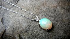 Ethiopian Opal Necklace, Welo Opal Necklace, Fine Jewelry, Sterling Silver Necklace, October Birthstone, White Opal Necklace on Etsy, $275.00