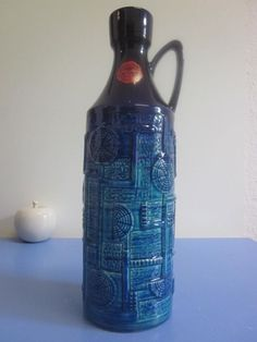 "Tall Bay Keramik floor vase blue Bodo Mans NARVIK pop art 60s 70s 13.8""WGP lava"