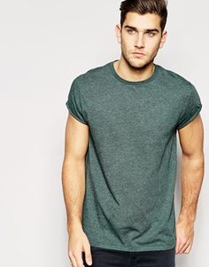 ASOS T-Shirt With Crew Neck In Skater Fit With Rolled Sleeve